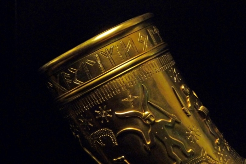 One of the Golden Horns of Gallehus, with the Runic inscription 'ek hlewagastiR holtijaR horna tawido'
